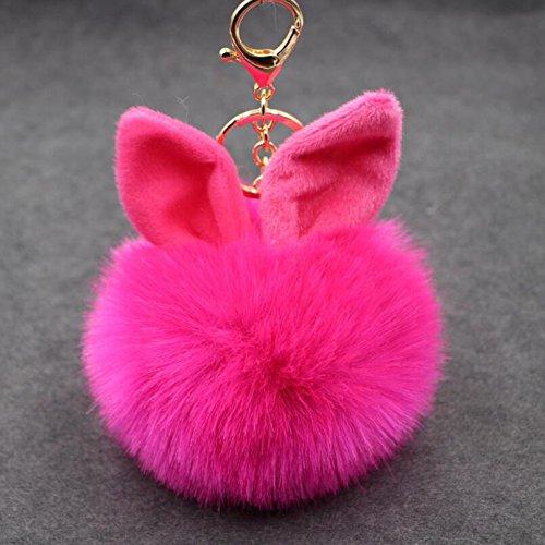 - Showking Cute Rabbit Ears Keyring Ball Pendant Keyring Rabbit Keychain(Rosy)