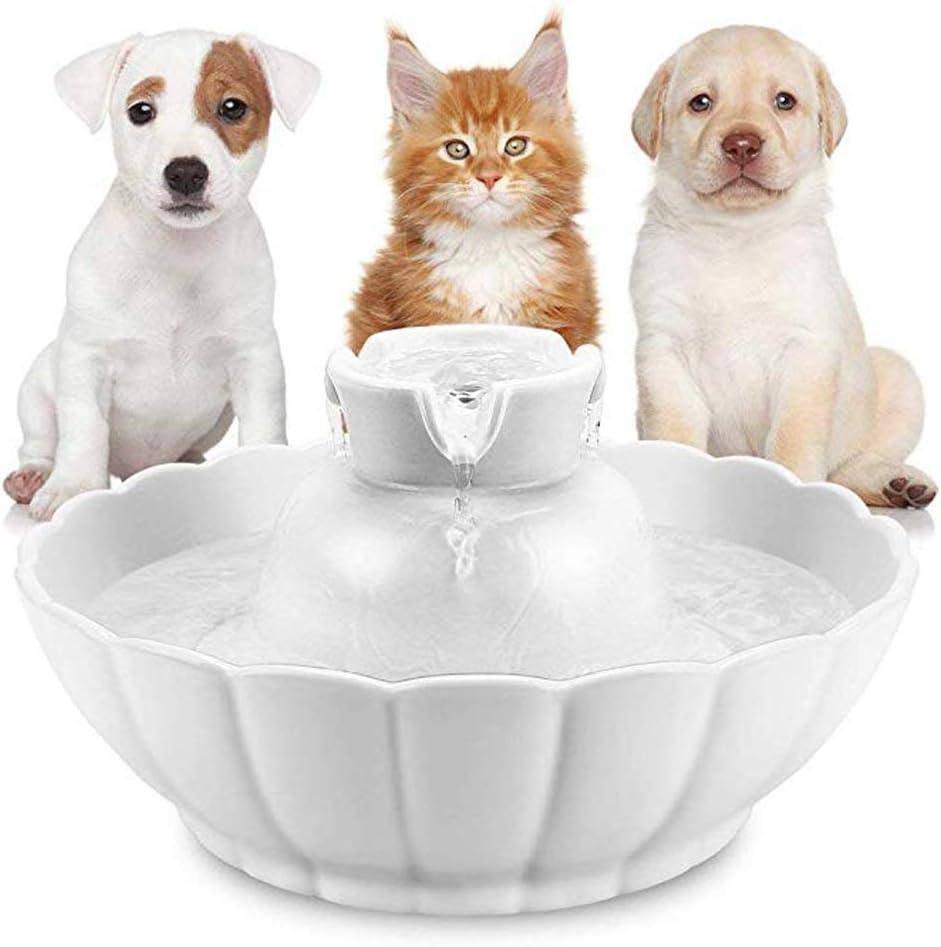 ZM HL MM Fuente de Agua para Mascotas de cerámica Fuentes de Agua Ultra silenciosas de 2.1 l para Gatos y Perros, dispensador de Agua para Mascotas con filtros de Repuesto y Espuma (Color : White)
