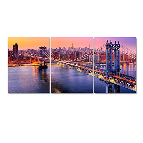 Niterny Art Modern Cityscape Wall Art Manhattan Bridge Picture New York City Skyline Canvas Artwork Print 3 Pieces Painting for Bedroom Home Decor Ready to Hang