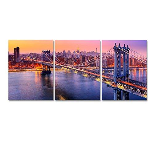 - Niterny Art Modern Cityscape Painting Artwork Manhattan Bridge New York City Skyline Canvas Picture Print Wall Art for Living Room Decoration
