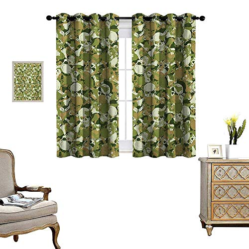 Camo Patterned Drape for Glass Door Sketchy Skulls and Crossbones Warning Sign Spooky Scary Horror Tile Waterproof Window Curtain W72 x L72 Pale Brown Green Pale ()
