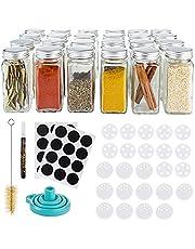 Gadgy Kruidenpotjes Glas Vierkant | Set van 24 Glazen Potjes | Kruiden Set inclusief Strooideksels, Stickers, Stift, Trechter en Borstel | Voorraadpot Kruiden | Kruidenrek Tuin