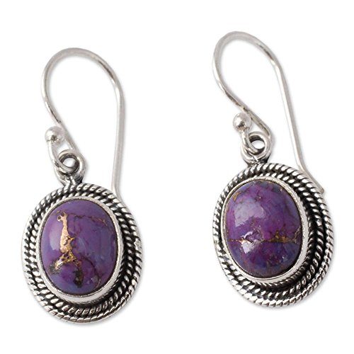 (NOVICA Reconstituted Purple Turquoise .925 Sterling Silver Dangle Earrings 'Purple Majesty')