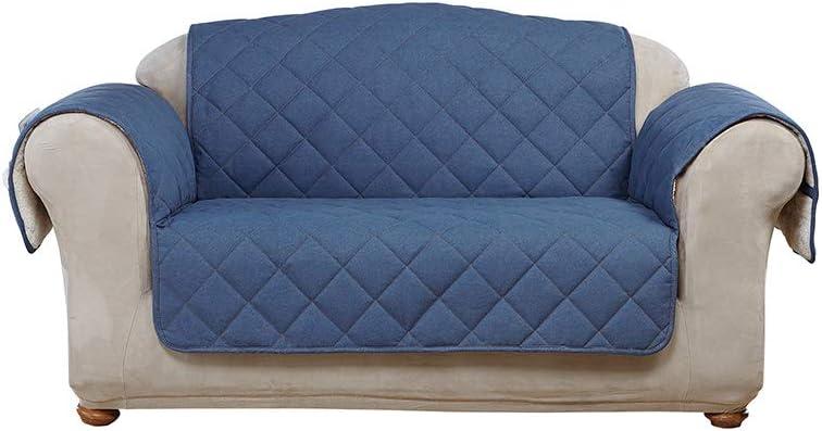 SureFit Denim with Sherpa Fleece Loveseat Furniture Cover, Indigo