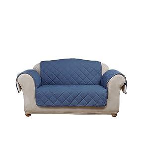 SureFitDenim with Sherpa Fleece Loveseat Furniture Cover, Indigo