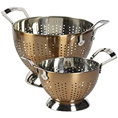 Drain and strain with the Epircurious 2-Piece Stainless Steel Colander Set. This set is durable, easy-to-clean, non-reactive, and non-corrosive. With a footed base to prevent food from touching surfaces and double-riveted handles that promote...