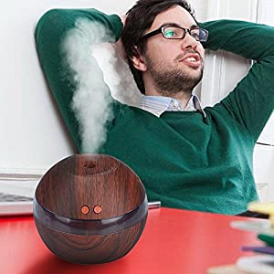 LED Ultrasonic Aroma Diffuser Essential Oil Humidifier Air Aromatherapy Purifier Brown
