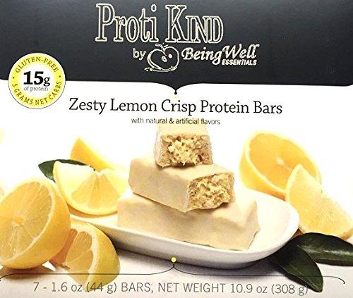 Proti Kind Zesty Lemon Crisp Protein Bars, 7 Servings, 15g Protein Per Serving