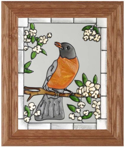 Robin Vertical Art Glass Panel with Wooden Frame 12 x 10