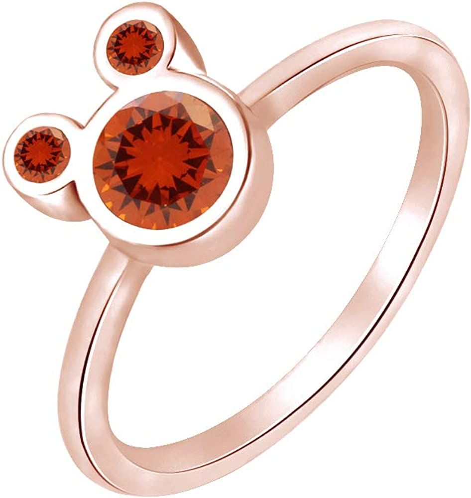Wishrocks 925 Sterling Silver Simulated Garnet Mickey Mouse Ring Party Jewelry for Women /& Girl
