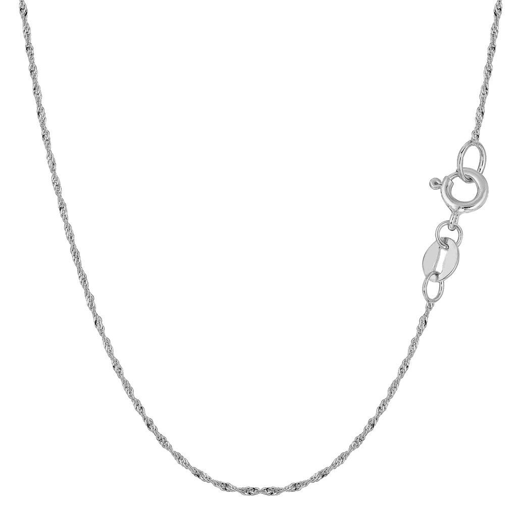 14K Yellow or White Gold 1.00mm Shiny Diamond-Cut Classic Singapore Chain Necklace for Pendants and Charms with Spring-Ring Clasp (7'' 16'' 18'' 20'' 22'' or 24'' inch)