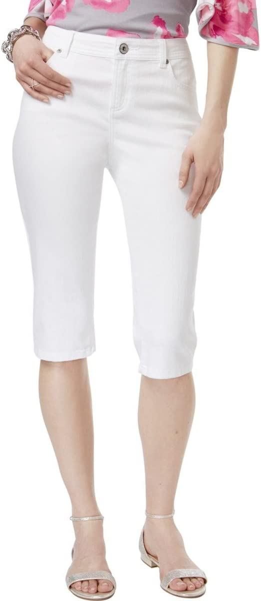 INC Womens Regular Fit Straight Leg Cropped Jeans White 6