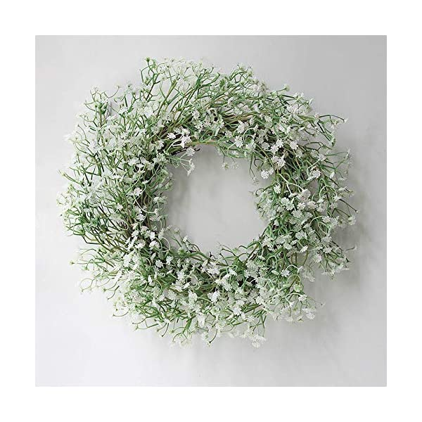 Artificial flower Wreath|Fake Baby Breath Wreath|Handcrafted Gypsophila Wreath Design|Greenary Floral Garland |15.7in Real Touch silk Flower| For Front Door Outdoor Indoor Garden Office Wedding Decor