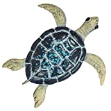 """Turtle Metal Wall Décor or Table Decoration - 3D Design - Hand-Painted - 19"""" x 19"""" - Sea Wall Art - Indoor or Outdoor Use – Contemporary Home Decoration in Coastal Style"""