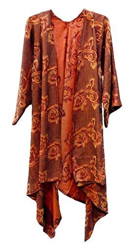 Wool Swirl Angular Kimono Duster Jacket Robe Burnt Orange by Steel Paisley