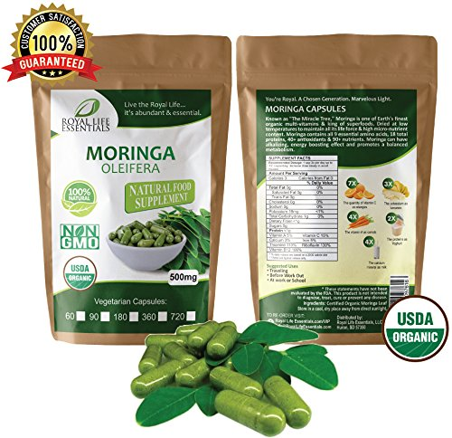 Moringa Oleifera Leaf Powder Organic (90) Capsules - multivitamin, minerals, antioxidants, 9 essential amino acids, helps metabolism, detox liver supplement a natural raw herbal cleanse superfood