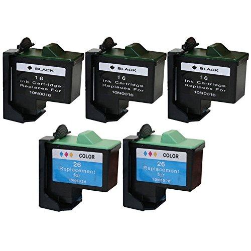 10n0026 Cartridge (Nar Cartridges Lexmark 10N0016 / 10N0026 Series Compatible Five Pack of Color (3xBlack, 2x Color) Ink Cartridges)