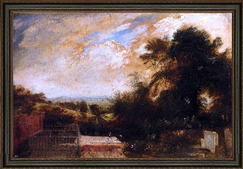 Art Oyster John Martin Country Graveyard Possibly Bunhill Fields Finsbury A Wooded Landscape Beyond - 18.05