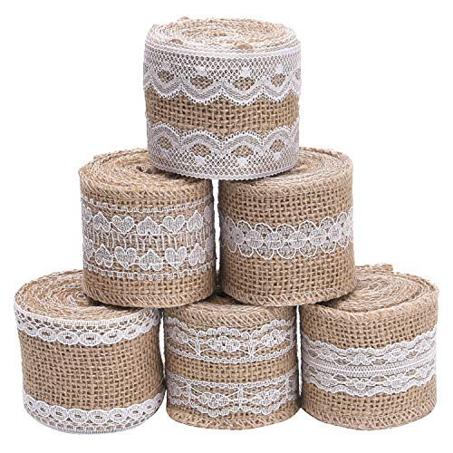 Classic Natural Jute - Livder 6 Rolls 2 Inch Width Natural Jute Burlap Ribbon with White Lace for DIY Home Decoration, Wedding Party and Gift Packaging