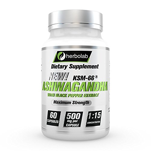 Herbolab Ashwagandha 1:15 with Black Pepper Extract (Higher Absorption) Max Potency Full Spectrum 5+% Withanolides - Patented KSM-66