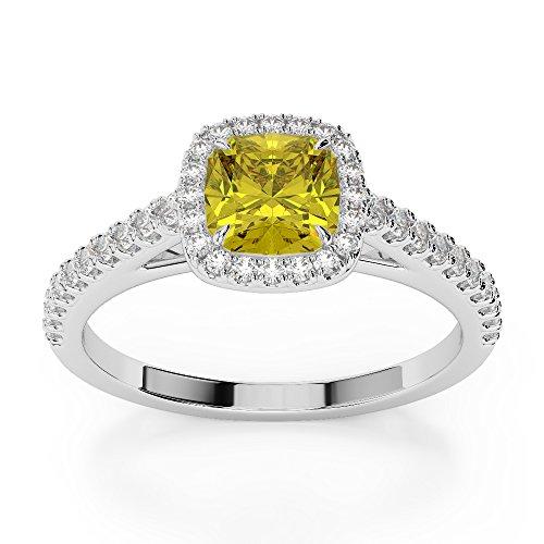 Or blanc 18carats 1CT G-H/VS sertie de diamants taille Coussin Saphir Jaune et bague de fiançailles Agdr-1212