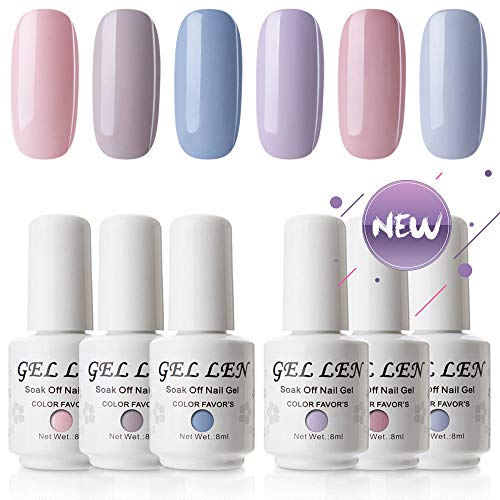 Best Nail Polish (Gellen New Soak Off Gel Nail Polish Pale Cream Colors Set - Fashion Selected 6 Colors 8ml Home Gel Manicure Kit)