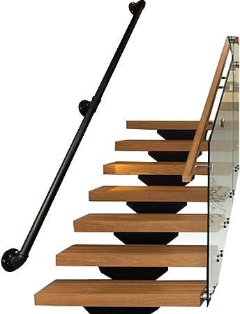 Barandilla, escalera negra con 2 soportes de pared, barandilla para escaleras de interior, guía directa a escaleras, puerta o entrada de celda, estilo rústico negro, estilo de esquina redonda: Amazon.es: Hogar