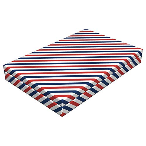 (Ambesonne Harbour Stripe Dog Bed, Vintage Barber Pole Helix of Colored Stripes Medieval Contrast Design, Durable Washable Mat with Decorative Fabric Cover, 48