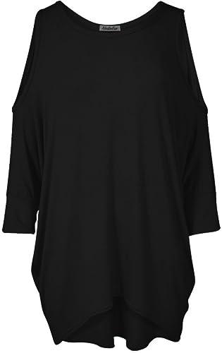 ladies womens batwing cut out cold shoulder long shirt top tunic dress 8 - 26