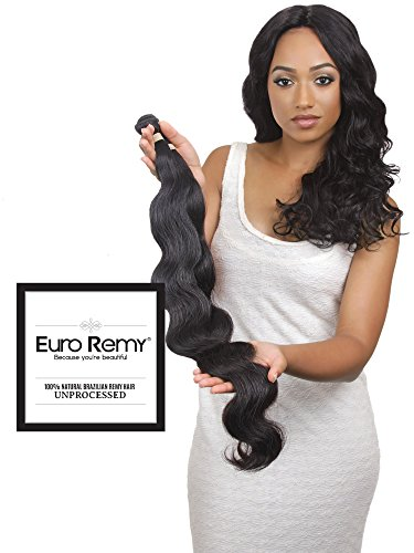 EURO REMY Brazilian Virgin 100% Unprocessed Human Hair Extensions - Weave - Body Wave - 1 Bundle - 12 inches Natural by EURO REMY