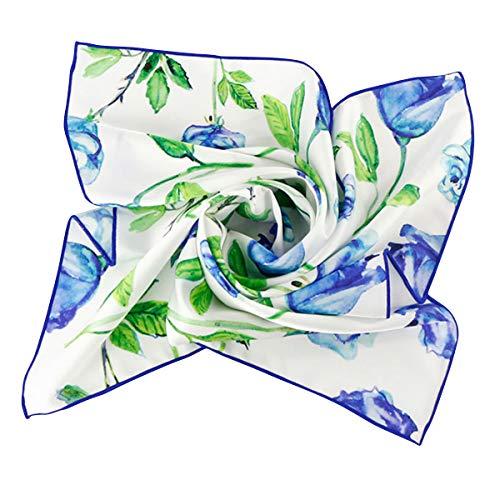- GERINLY Blue Rose Neckerchief Gift Ideas for Teacher Summer Hair Scarf Ties