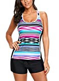 Eternatastic Womens Striped Print Racerback Tankini Swim Top No Bottom Swimsuit XXL Rose