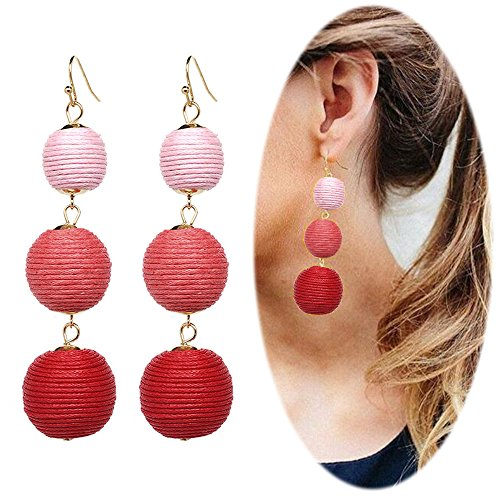 Thread Ball Dangle Earrings Tassel Drop Earring Beaded Lantern Ear Studs Women Linear Tribal Charms Jewelry Pink Rose Red Mixed