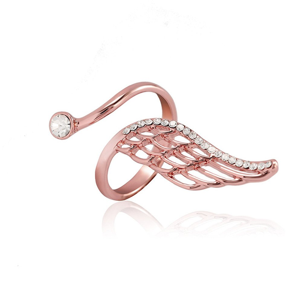 Mrsrui Vintage Feather Angel Wings Plume Open Ring Adjustable Rose Gold Plated
