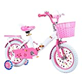 ZCRFY Bike Kids Children Foldable Adjustable Boys Girls 3-15 Years Old Baby Students Bicycle Steel Frame And Stand Light Weight Safe Balance Tricycle,Pink*WhiteTire-18Inches