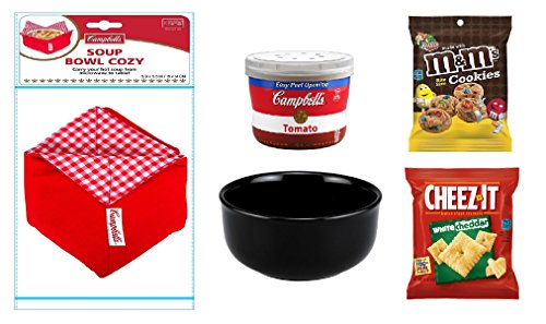 Campbells Soup Gift - Complete Box Meal - Complete Meal Kit - Soup Gift Basket (Black Bowl/Red Cozy, Tomato Soup)