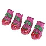 Embiofuels(TM) Pet Dog Shoes Boots Strawberry Mesh Glue Bottom Shoes for Small Dog Puppy Cat Cute Rubber Shoes Pet Dog Products[ Gold XL ]