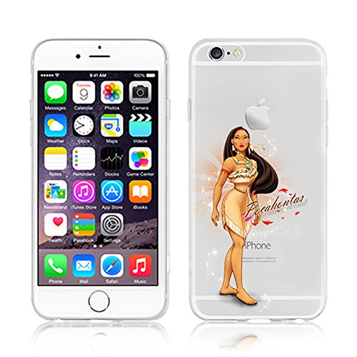 NEW DISNEY PRINCESSES TRANSPARENT CLEAR TPU SOFT CASE FOR APPLE IPHONE 7 - POCAHONTAS