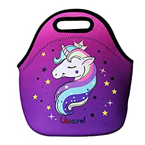 Cute Unicorn Lunch Bag for Kids, Waterproof Insulated Neoprene Lunch Tote with Zipper for School Work Outdoor