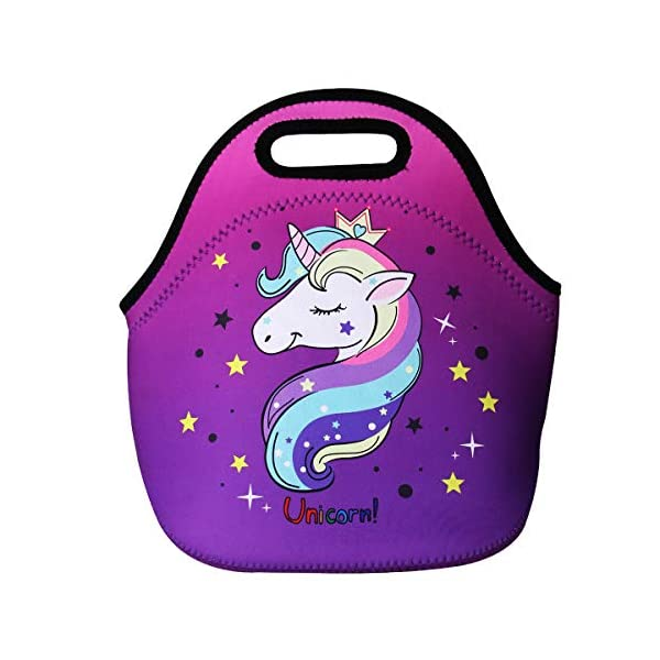 Cute Unicorn Lunch Bag for Kids, Waterproof Insulated Neoprene Lunch Tote with Zipper for School Work Outdoor (Purple002… 2