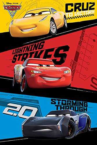 Cars 3 - Pixar / Disney Movie Poster / Print (Trio - Lightning McQueen, Jackson Storm, Cruz Ramirez) (By POSTER STOP ONLINE) (Cars Poster Movie Disney)