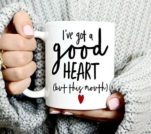 I've Got A Good Heart Mug, Coffee Mug, White Mug, Good Heart, Gift for Her, 11oz (Denver Broncos Nfl Stained Glass)