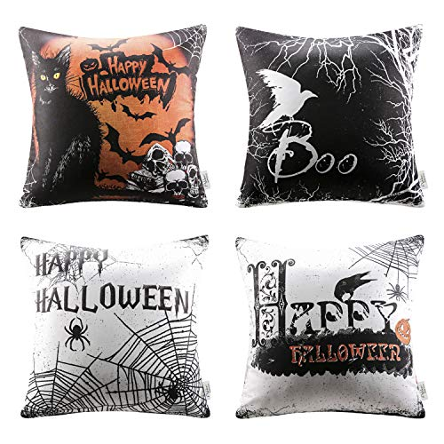 Ashler Happy Halloween Throw Pillow Cover Scary Cat