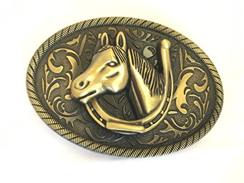 Diesel Buckle Closure Belt (Horseshoe n Horse Head Stallion Pony Club Mare,Belt Buckle for Leather)