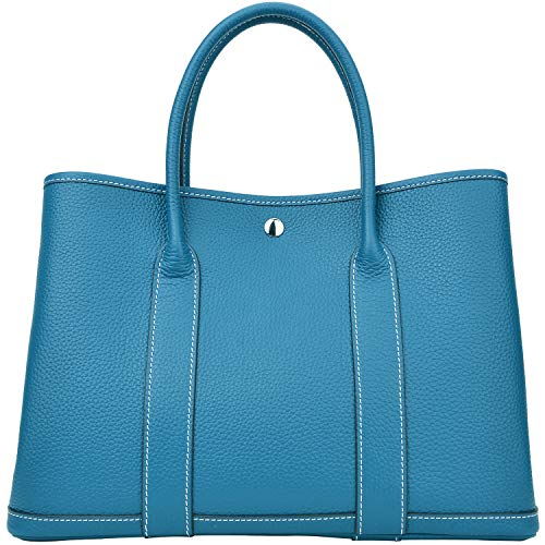 Cherish Kiss Top Handle Leather Handbag for Women Genuine Leather Tote Bags (H36 Peacock with white line)