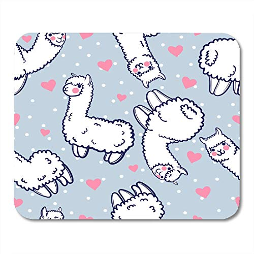 Virsa Mouse Pads Pattern Cute Alpacas and Hearts Child Lama from Peru in The Japanese Anime Llama Mouse pad 9.5