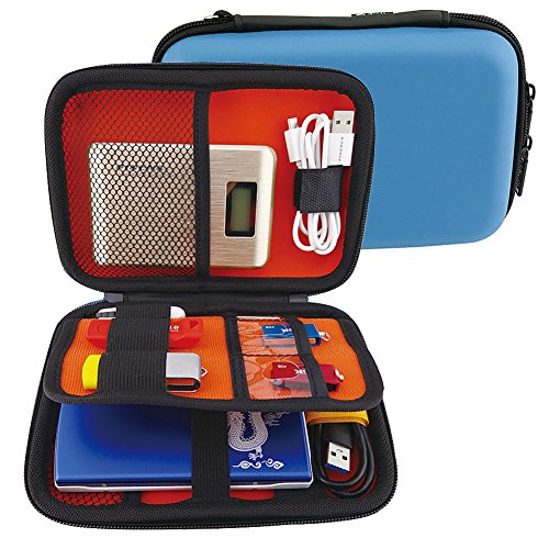 Elvam EVA Shockproof Waterproof Portable Hard Drive Case Bag/Cable Case Bag/USB Flash Drive Case Bag/Power Bank Case Bag/GPS Case and Digital Camera Case - Blue