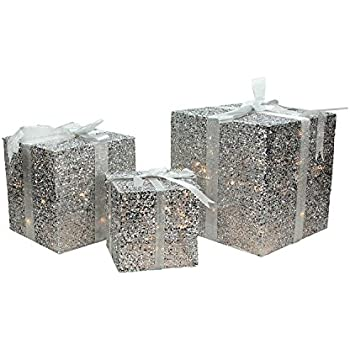 northlight set of 3 lighted silver glitter gift box present christmas decorations 9 12 15 yard art - Christmas Present Decoration