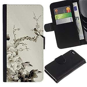 Ihec-Tech / Flip PU Cuero Cover Case para Apple Iphone 4 / 4S - Chinese style peony