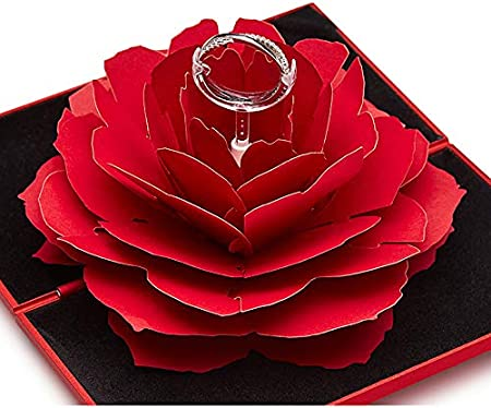 Valentine/'s Day Red Rose Flower Ring Box Wedding Ring Earrings Gift Jewelry Box